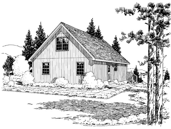 Cabin, Cottage House Plan 35007 with 2 Beds, 1 Baths Rear Elevation