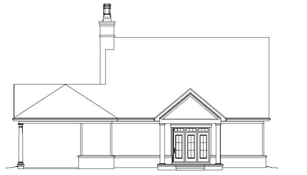 Traditional House Plan 47382 with 3 Beds, 3 Baths Rear Elevation