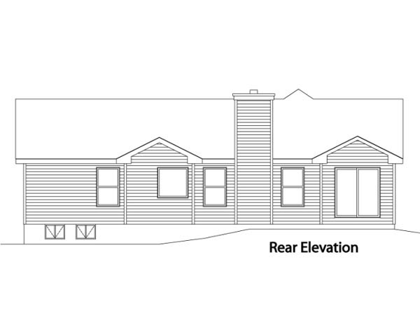 One-Story House Plan 49107 with 3 Beds, 3 Baths, 2 Car Garage Rear Elevation