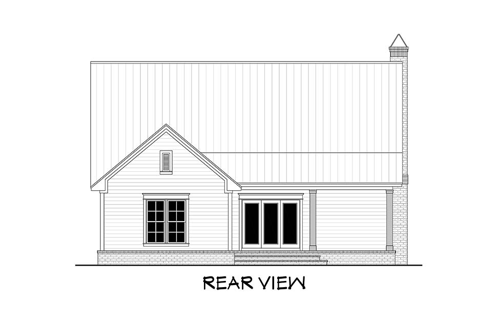 Country, Farmhouse, Traditional House Plan 51994 with 4 Beds, 3 Baths, 2 Car Garage Rear Elevation