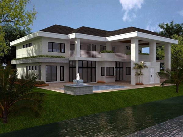 Florida, Modern House Plan 55782 with 5 Beds, 5 Baths, 3 Car Garage Rear Elevation