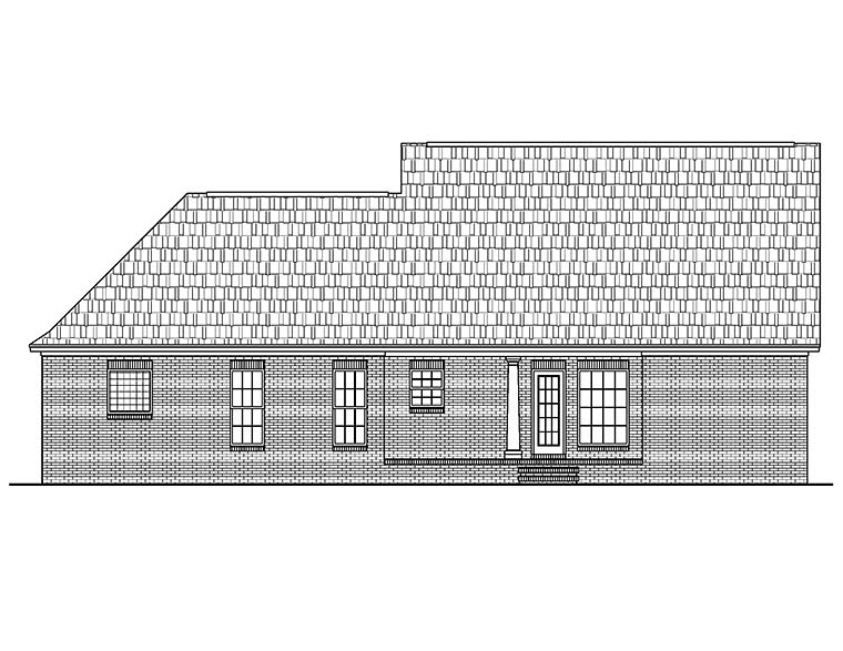 Colonial, Country, Ranch, Southern House Plan 56950 with 3 Beds, 2 Baths, 2 Car Garage Rear Elevation