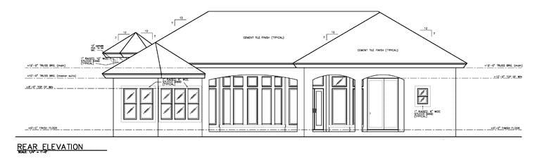 Florida House Plan 58918 with 3 Beds, 4 Baths, 2 Car Garage Rear Elevation