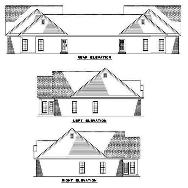 One-Story Multi-Family Plan 62373 with 6 Beds, 4 Baths, 2 Car Garage Rear Elevation