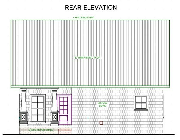 Cottage, Country House Plan 64586 with 2 Beds, 2 Baths Rear Elevation
