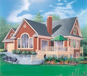 Traditional House Plan 65255 with 3 Beds, 4 Baths, 1 Car Garage Elevation