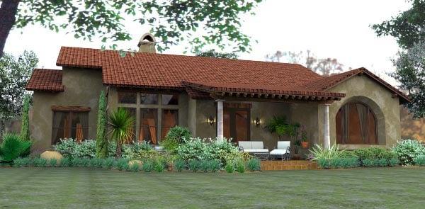 Cottage, European, Mediterranean, Tuscan House Plan 65893 with 3 Beds, 2 Baths, 2 Car Garage Rear Elevation