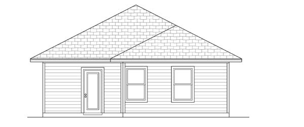 Craftsman House Plan 69908 with 3 Beds, 2 Baths Rear Elevation