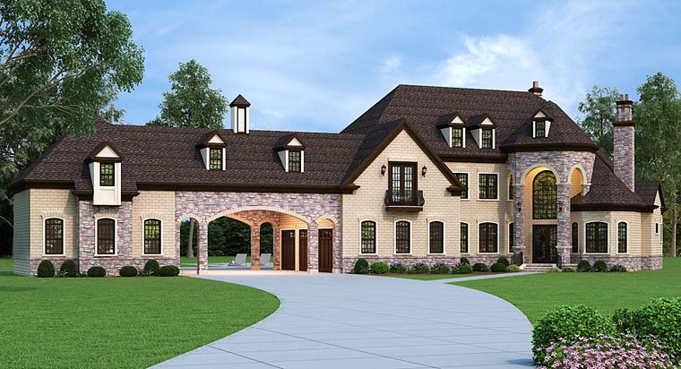 European, French Country Plan with 3302 Sq. Ft., 5 Bedrooms, 5 Bathrooms, 5 Car Garage Elevation