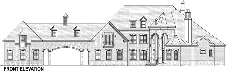 European, French Country Plan with 3302 Sq. Ft., 5 Bedrooms, 5 Bathrooms, 5 Car Garage Picture 3