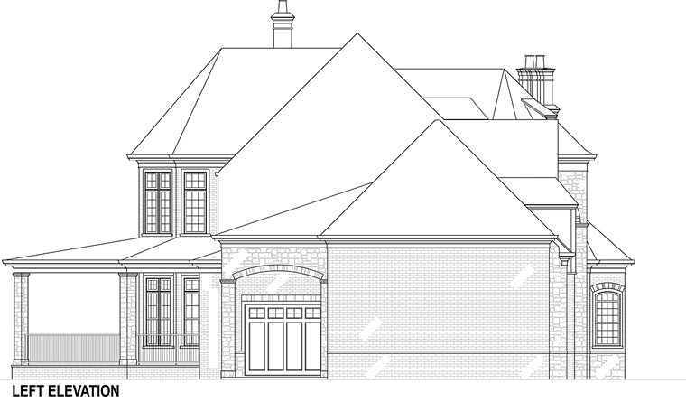 European, French Country Plan with 3302 Sq. Ft., 5 Bedrooms, 5 Bathrooms, 5 Car Garage Picture 4