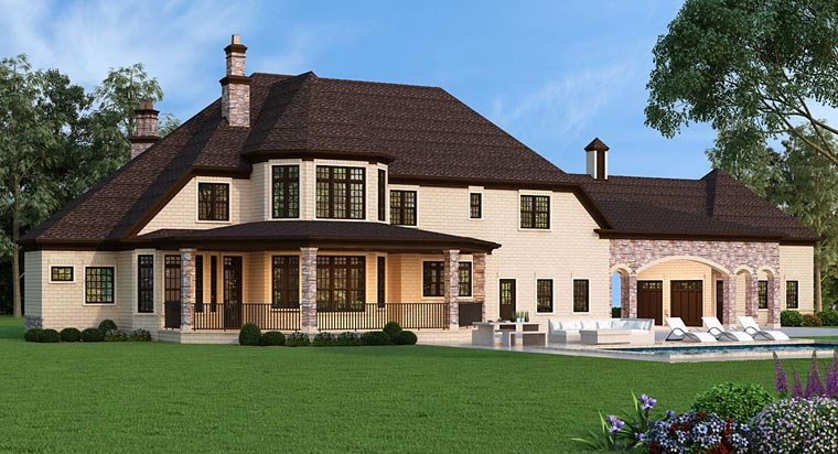 European, French Country Plan with 3302 Sq. Ft., 5 Bedrooms, 5 Bathrooms, 5 Car Garage Rear Elevation