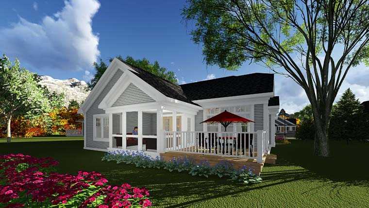 Cottage, Country House Plan 75284 with 2 Beds, 2 Baths, 2 Car Garage Rear Elevation