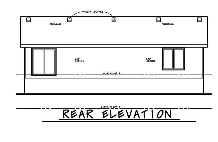 Traditional House Plan 80466 with 3 Beds, 2 Baths, 2 Car Garage Rear Elevation