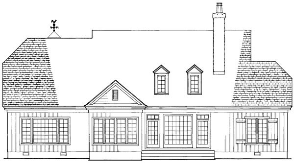 Country, Craftsman, Southern House Plan 86201 with 4 Beds, 5 Baths, 2 Car Garage Rear Elevation