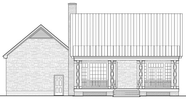Cape Cod, Cottage, Country, Craftsman, Southern House Plan 86348 with 4 Beds, 4 Baths, 2 Car Garage Rear Elevation