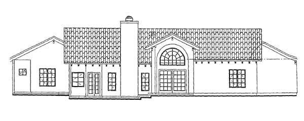 Mediterranean House Plan 90212 with 3 Beds, 2 Baths, 3 Car Garage Rear Elevation