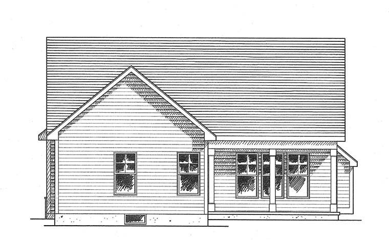 Cottage, Ranch House Plan 94132 with 2 Beds, 2 Baths, 2 Car Garage Rear Elevation