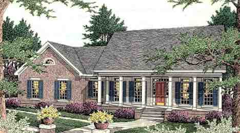Colonial, Southern House Plan 40016 with 3 Beds, 2 Baths, 2 Car Garage Elevation
