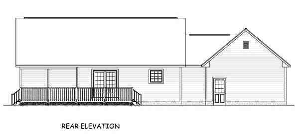 Country, Ranch, Southern House Plan 40623 with 2 Beds, 2 Baths, 2 Car Garage Rear Elevation