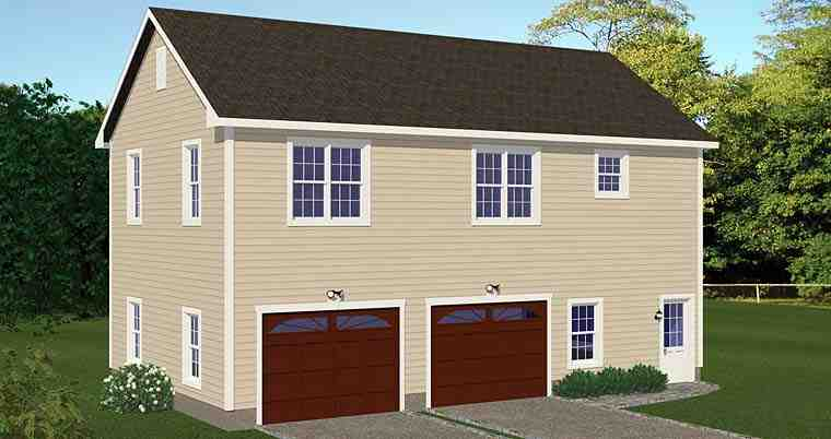 Garage-Living Plan 40694 with 2 Beds, 1 Baths, 2 Car Garage Elevation