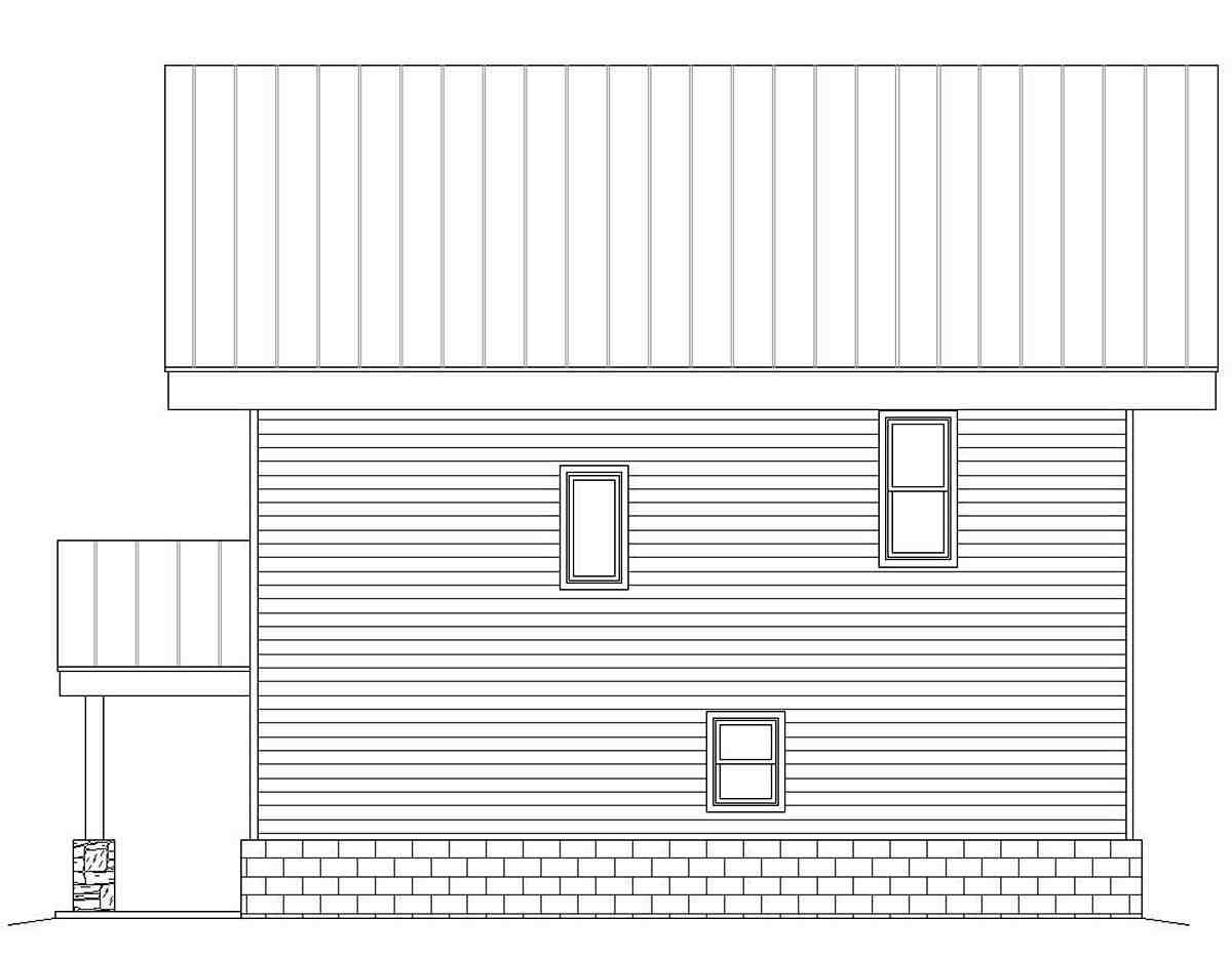 Contemporary, Modern Garage-Living Plan 40816 with 3 Beds, 2 Baths, 2 Car Garage Rear Elevation