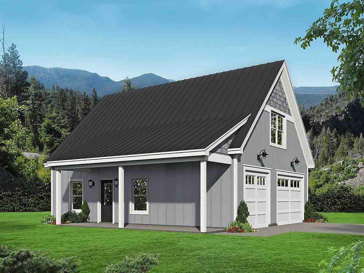 Country, Ranch House Plan 40852 with 1 Beds, 1 Baths, 2 Car Garage Elevation
