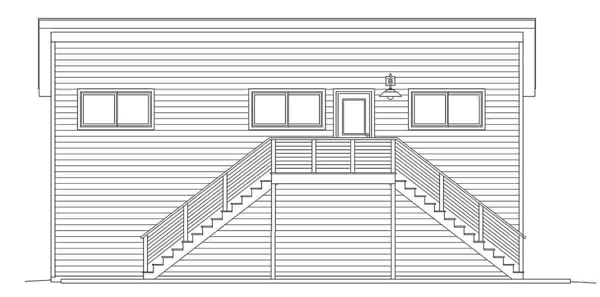 Contemporary, Modern Garage-Living Plan 40869, 2 Car Garage Picture 2