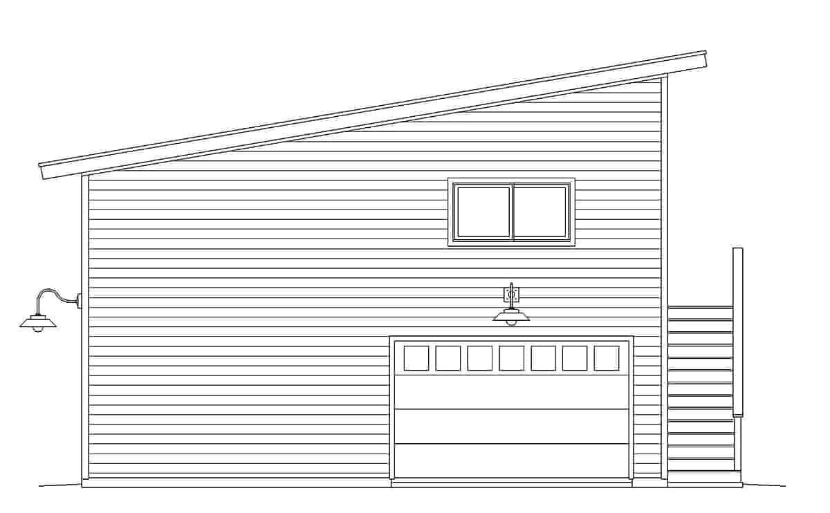 Contemporary, Modern Garage-Living Plan 40869, 2 Car Garage Rear Elevation