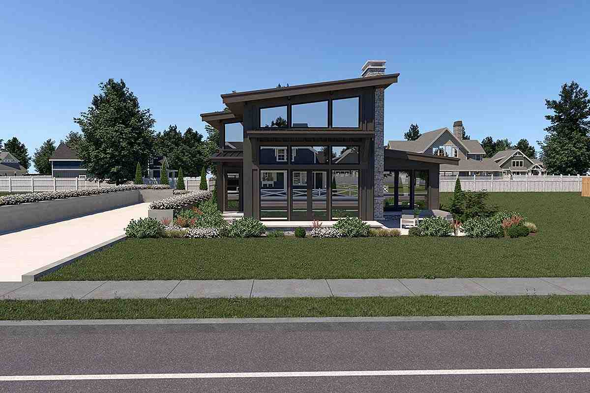 Contemporary House Plan 40910 with 3 Beds, 3 Baths, 2 Car Garage Elevation
