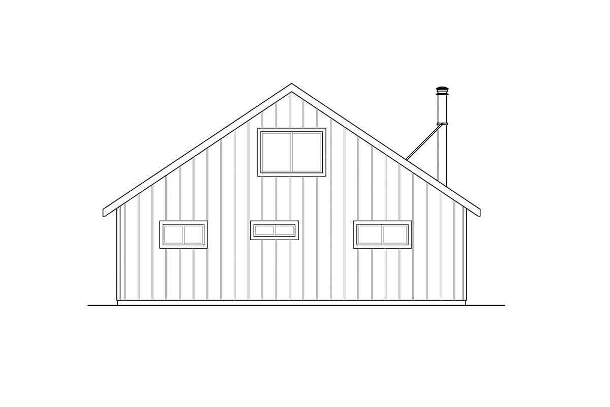 Cabin, Contemporary House Plan 41302 with 2 Beds, 2 Baths Rear Elevation