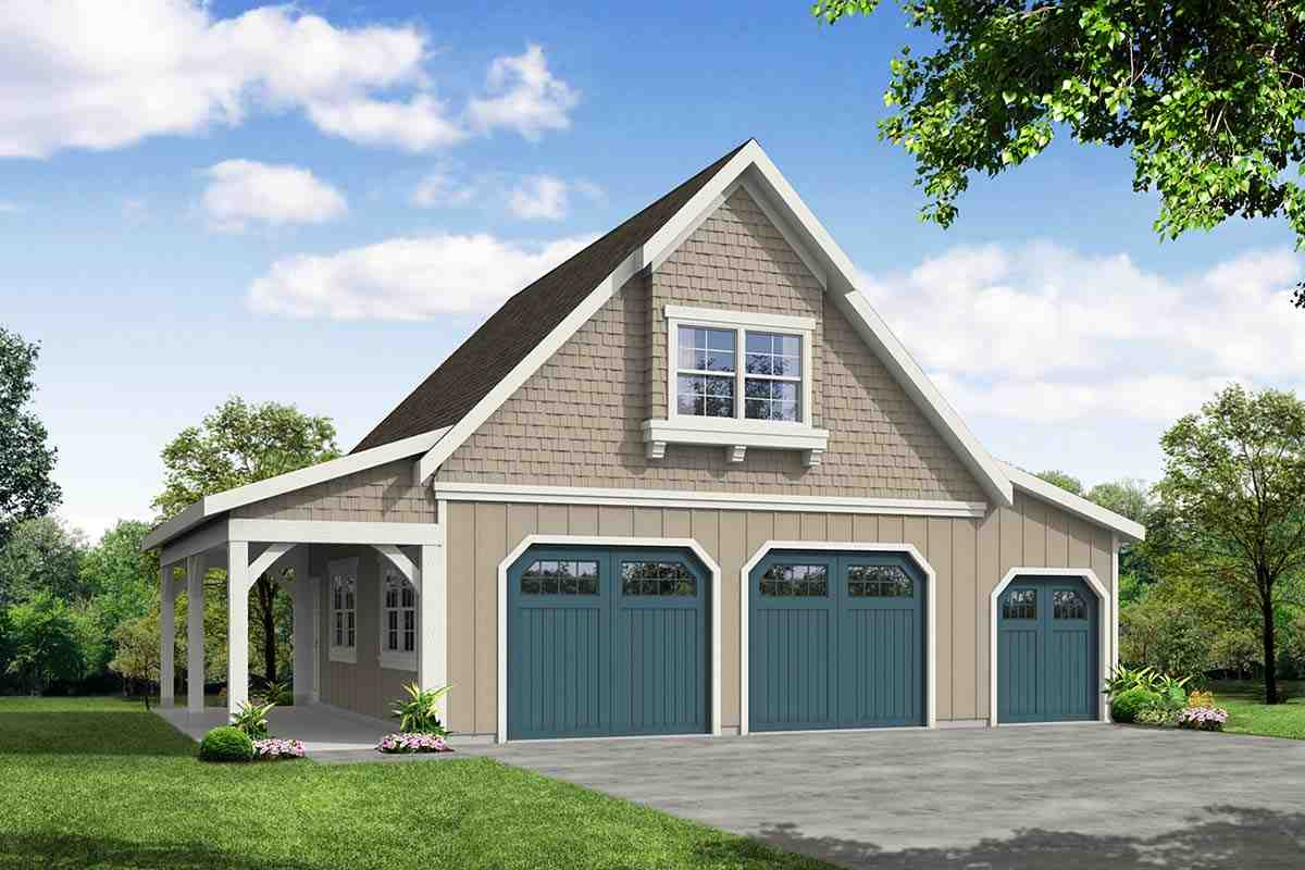 Country, Craftsman, Farmhouse 2 Car Garage Plan 41349 Elevation