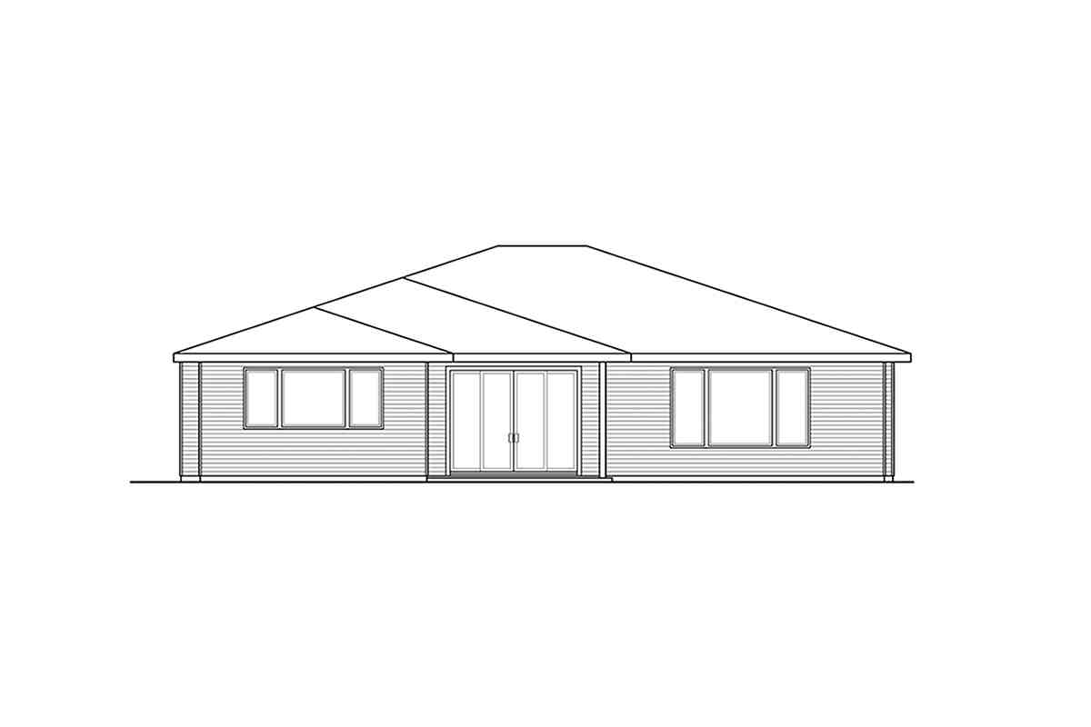 Modern, Prairie, Ranch House Plan 41389 with 3 Beds, 2 Baths, 2 Car Garage Rear Elevation