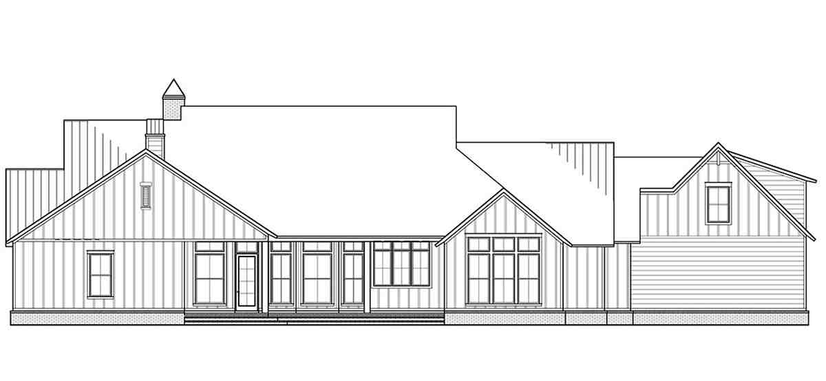 Country, Farmhouse House Plan 41405 with 4 Beds, 4 Baths, 3 Car Garage Rear Elevation