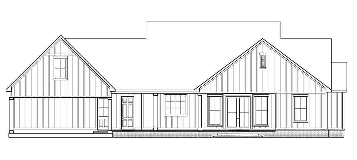 Country, Farmhouse, Southern House Plan 41409 with 3 Beds, 3 Baths, 2 Car Garage Rear Elevation