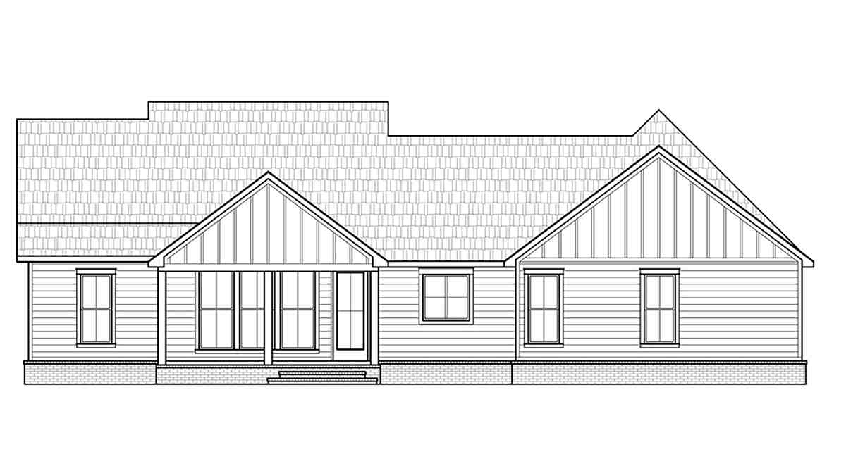 Country, Farmhouse, Southern House Plan 41422 with 3 Beds, 2 Baths, 2 Car Garage Rear Elevation