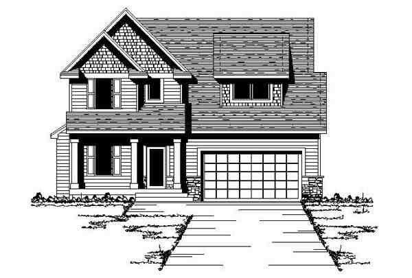 Country, Craftsman, Narrow Lot, Traditional House Plan 42082 with 3 Beds, 3 Baths, 2 Car Garage Elevation