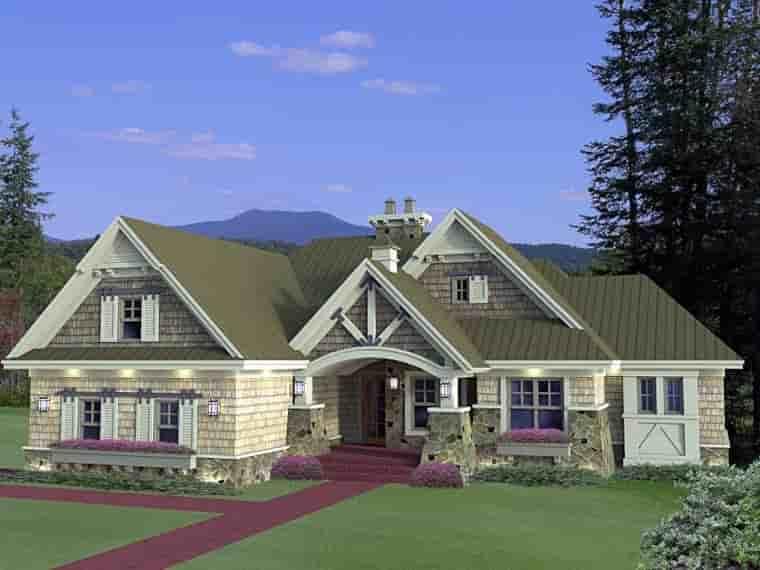 Craftsman House Plan 42652 with 3 Beds, 3 Baths, 2 Car Garage Elevation