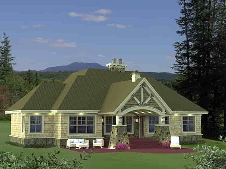 Craftsman House Plan 42652 with 3 Beds, 3 Baths, 2 Car Garage Rear Elevation
