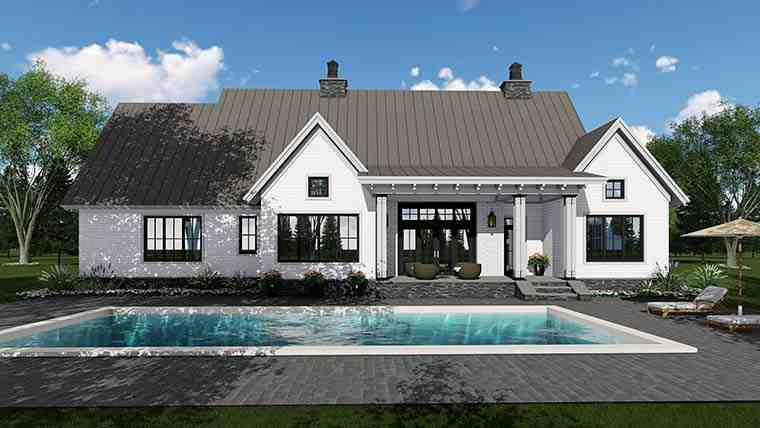 Country, Farmhouse, Southern, Traditional House Plan 42688 with 3 Beds, 3 Baths, 2 Car Garage Rear Elevation