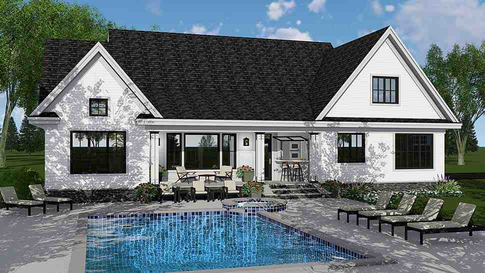Bungalow, Country, Craftsman, Farmhouse, Traditional House Plan 42694 with 4 Beds, 4 Baths, 2 Car Garage Rear Elevation