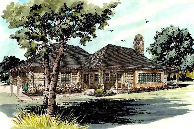 Country, Ranch House Plan 43215 with 1 Beds, 1 Baths, 2 Car Garage Elevation