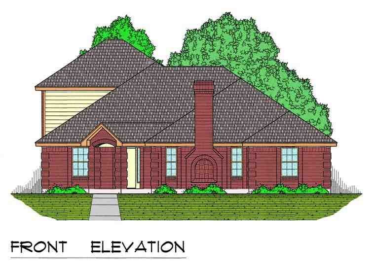 European, Traditional House Plan 44173 with 3 Beds, 2 Baths, 2 Car Garage Elevation
