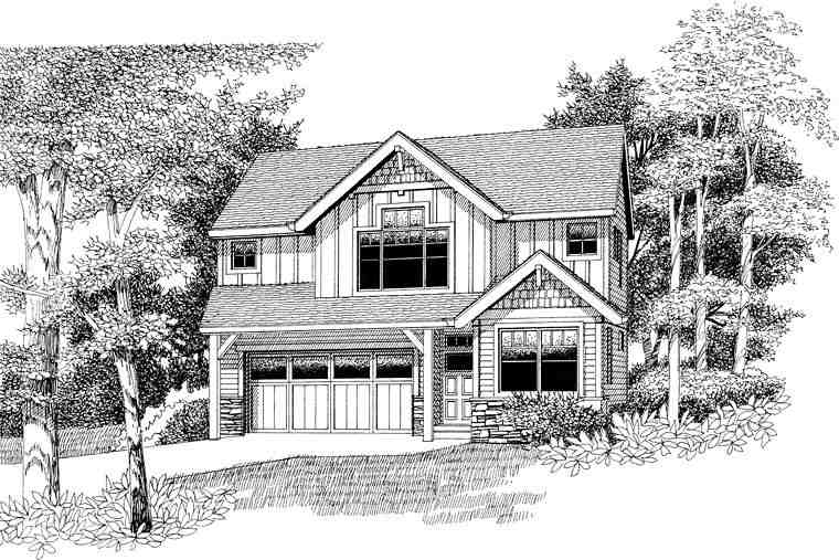 Craftsman, Traditional House Plan 44656 with 3 Beds, 3 Baths, 2 Car Garage Elevation