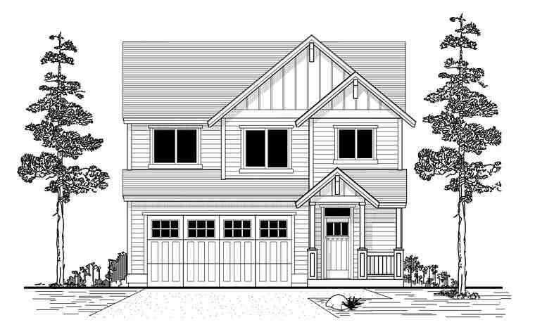 Traditional House Plan 44670 with 3 Beds, 3 Baths, 2 Car Garage Elevation