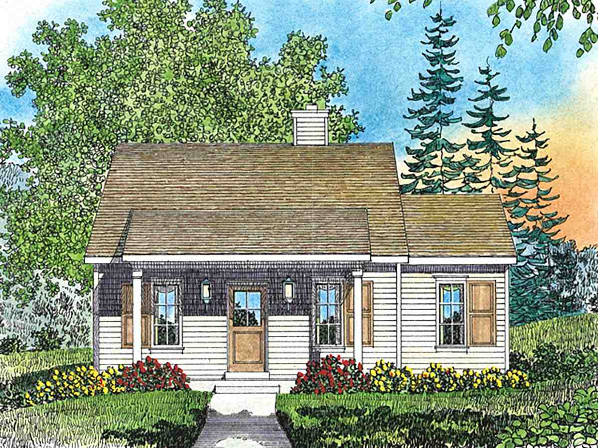 Cottage, Narrow Lot House Plan 45164 with 1 Beds, 1 Baths Elevation