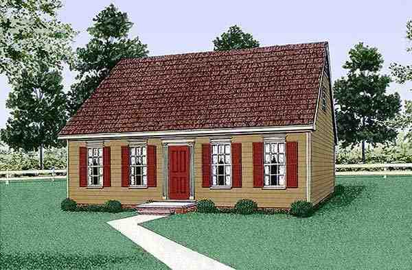 Colonial, Narrow Lot House Plan 45314 with 3 Beds, 3 Baths Elevation
