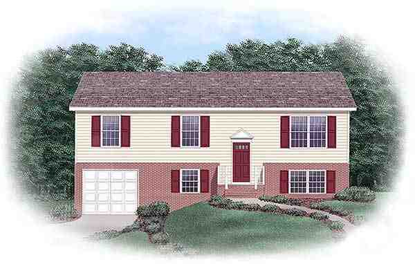 One-Story, Traditional House Plan 45328 with 3 Beds, 2 Baths, 1 Car Garage Elevation