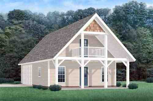 2 Car Garage Apartment Plan 45349 with 1 Beds, 1 Baths Elevation