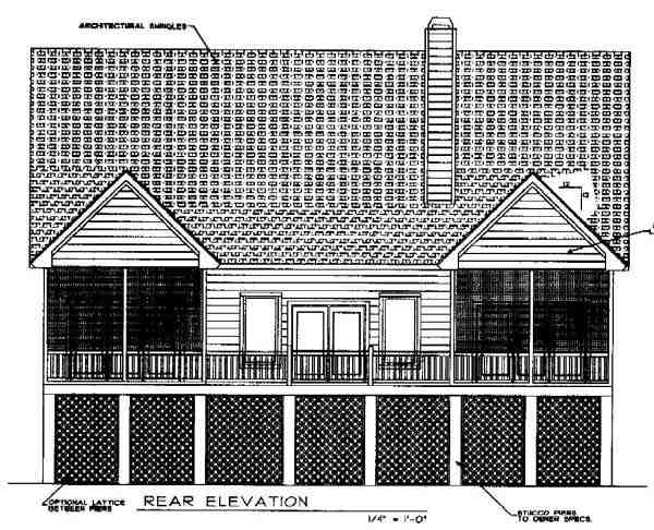 Cape Cod, Coastal, Country House Plan 45652 with 3 Beds, 4 Baths Rear Elevation